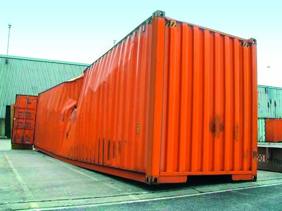 Badly damaged container